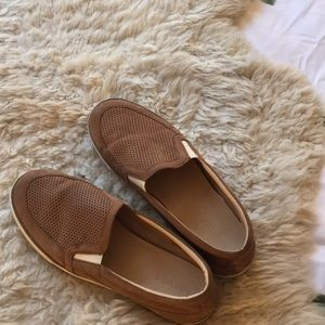 Nine West Soft Tan Leather Slip-on Sneakers